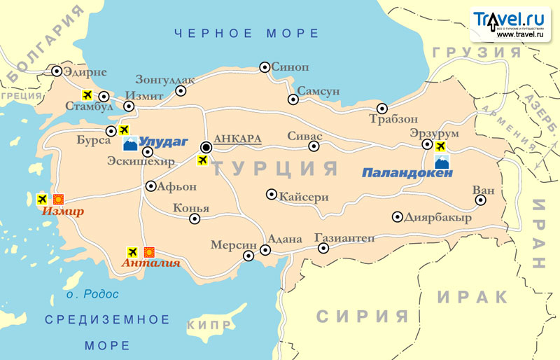 Границы турции на карте