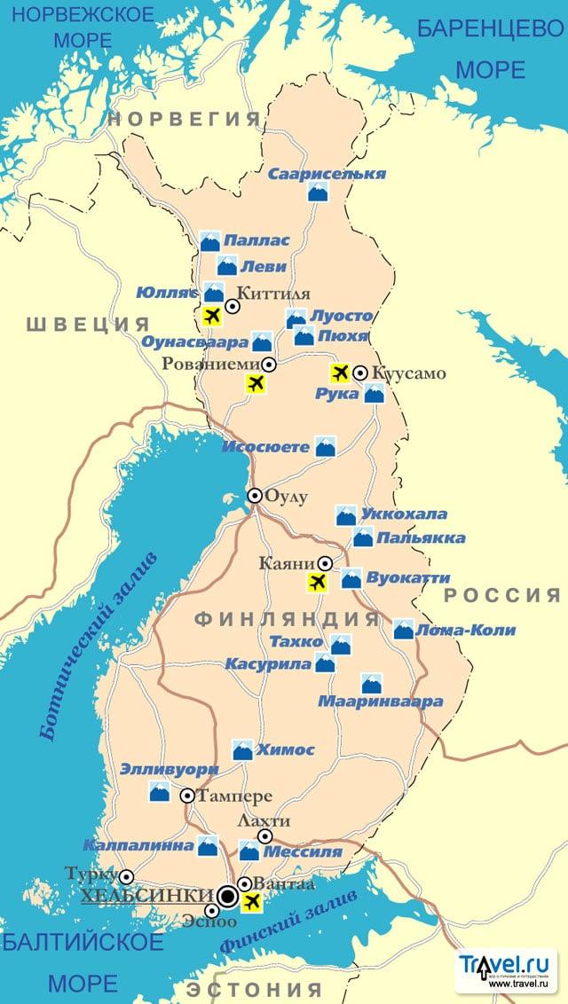Карта горнолыжных курортов Финляндии / Travel.Ru / Страны ...