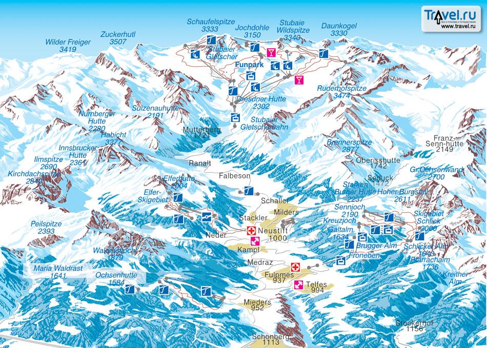 Схема трасс долины Штубайталь