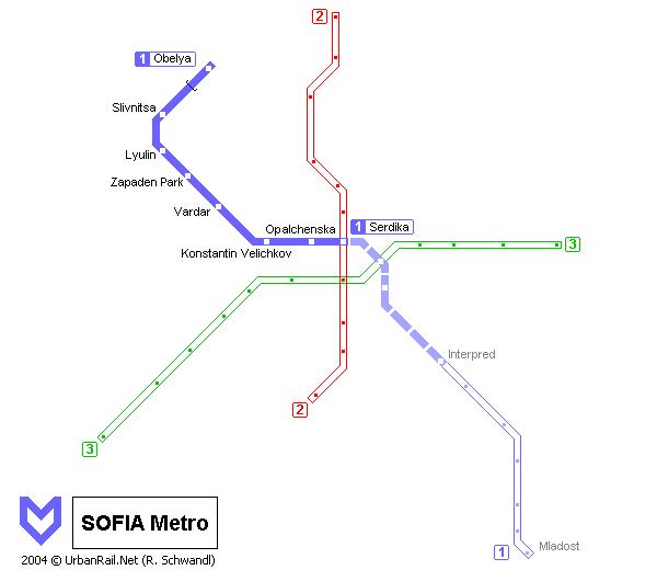 Схема софийского метрополитена