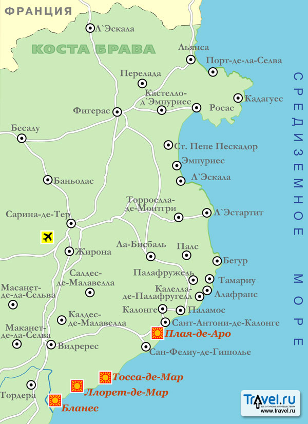 карта коста дорада отели