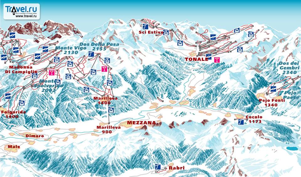Схема трасс в Валь-ди-Соле