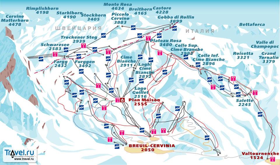 Схема трасс в Червинии