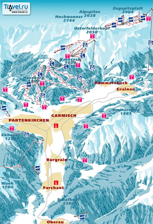 Схема трасс в Гармише и