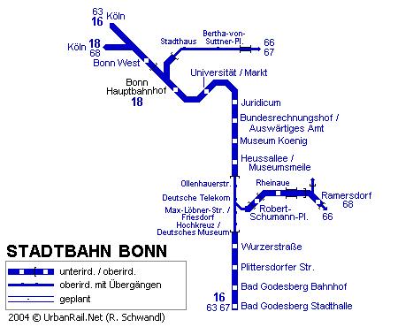 Схема метро в Бонне