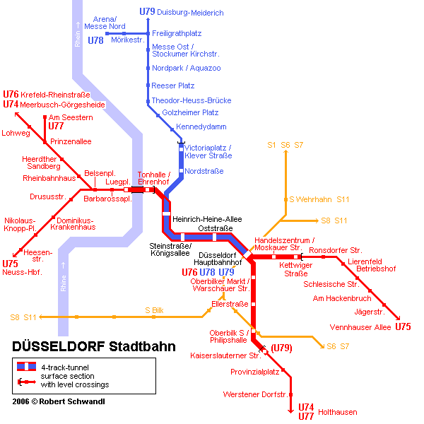 Схема метро в Дюссельдорфе