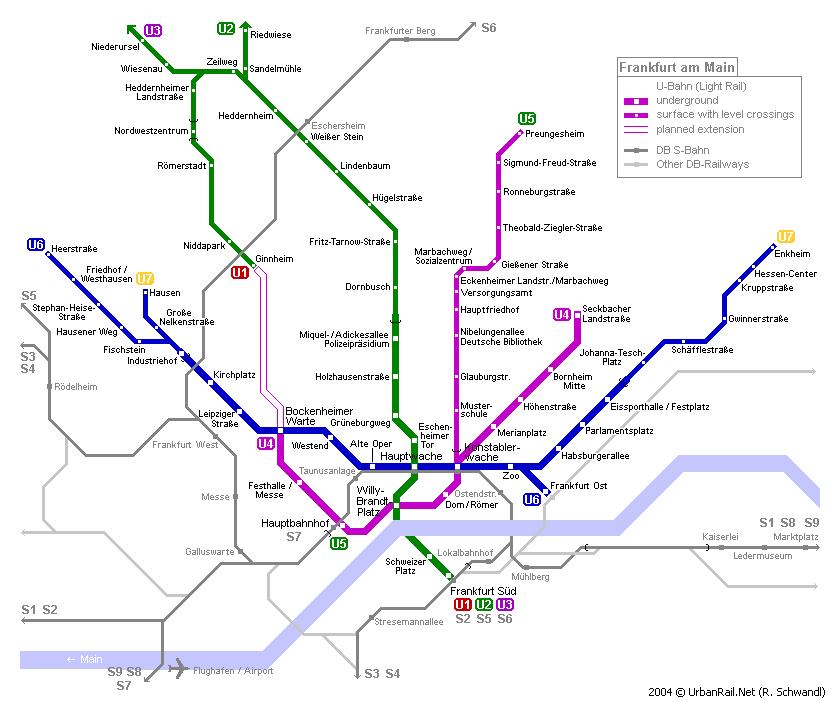 Схема метро во Франкфурте-на-