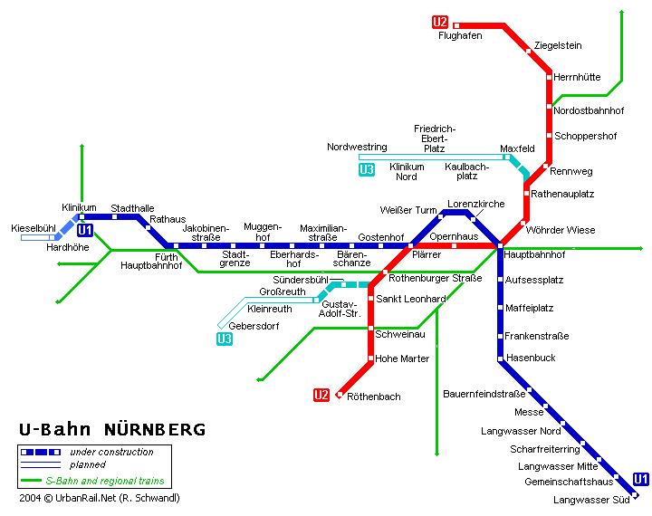 Схема метро в Нюрнберге