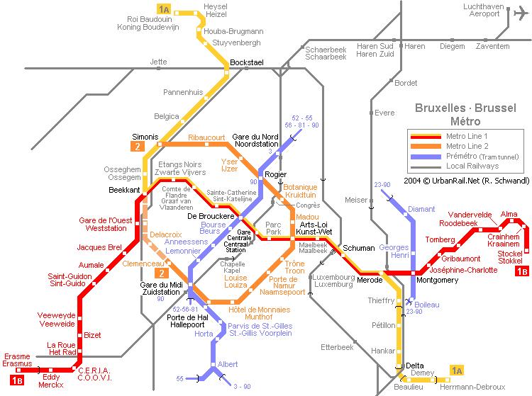 Схема метро в Брюсселе