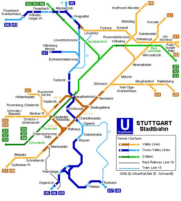 Схема метро в Штутгарте