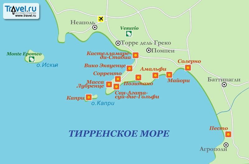 Карта курортов Тирренского моря / Travel.Ru / Страны ...
