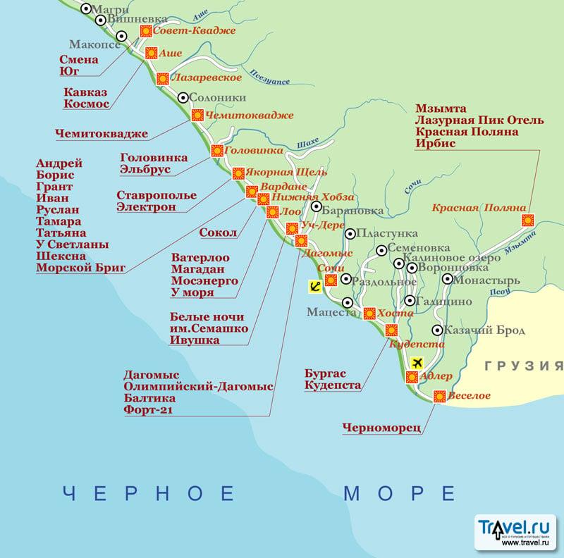 Достопримечательности Алушты на карте Крыма