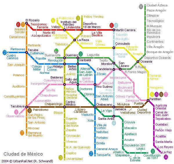 Схема метро в Мехико