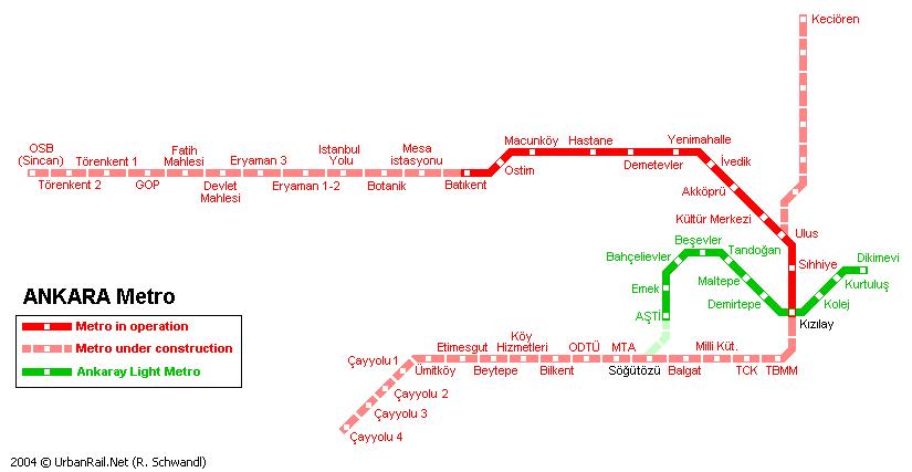 Схема метро в Анкаре