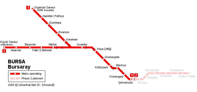 Схема метро в Бурсе