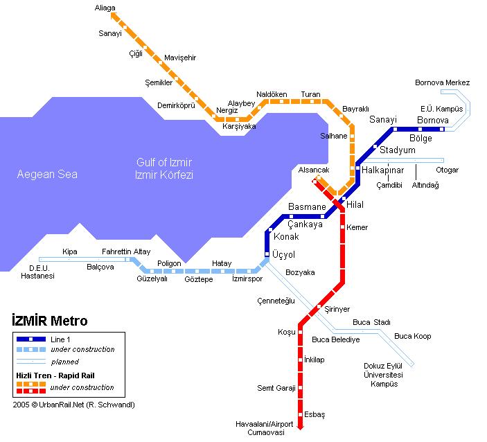 Схема метро в Измире