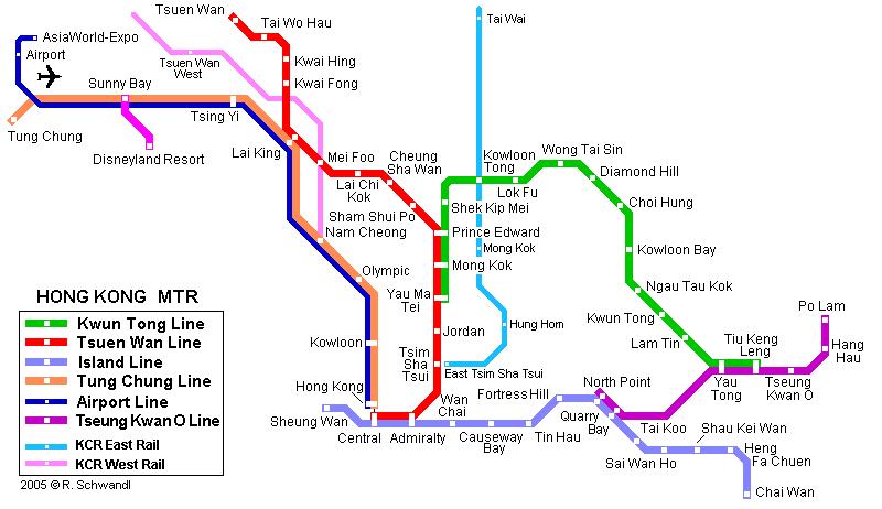 Схема метро в Гонконге