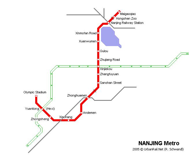 Схема метро в Нанкине