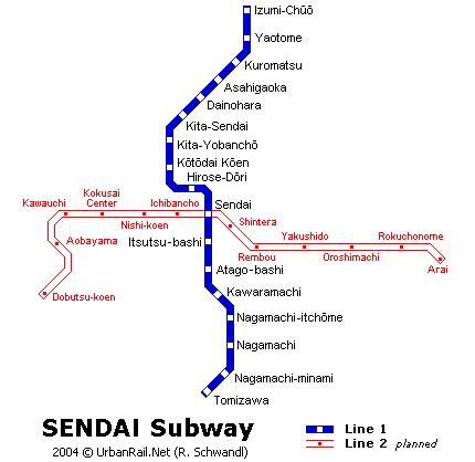Схема метро в Сендае