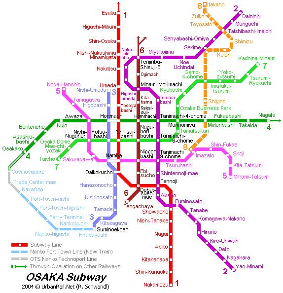 Схема метро в Осаке