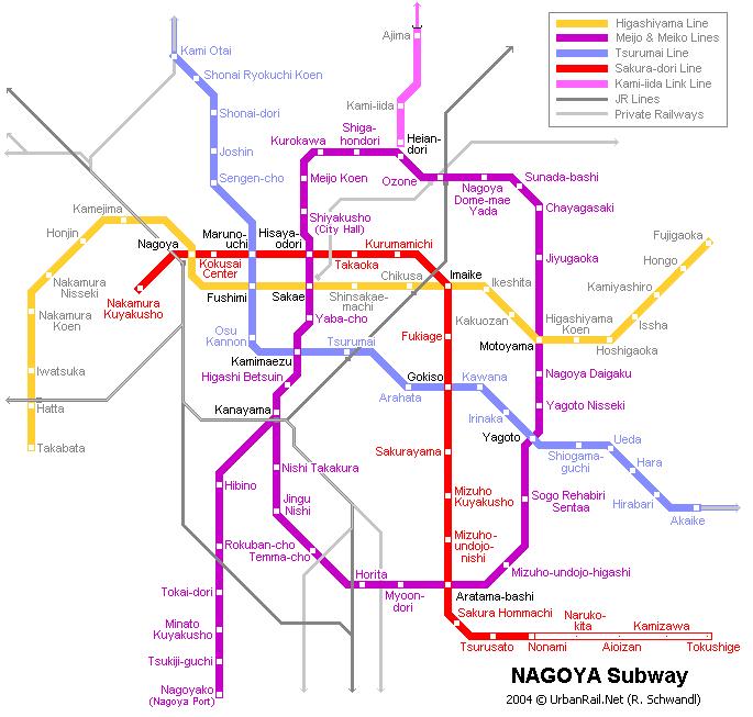 Схема метро в Нагойе