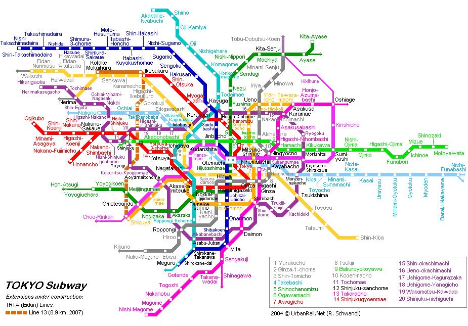 Схема метро в Токио