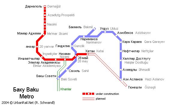 Схема метро в Баку