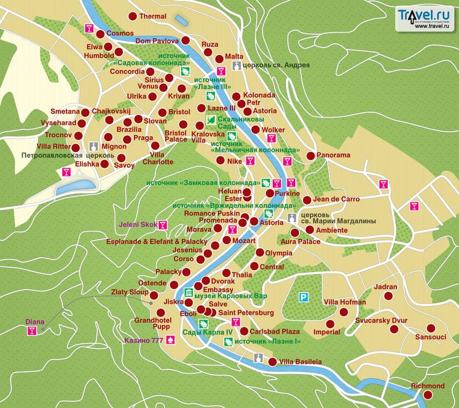 Карта курорта Карловы Вары / Travel.Ru / Страны / <b>Чехия</b> ...