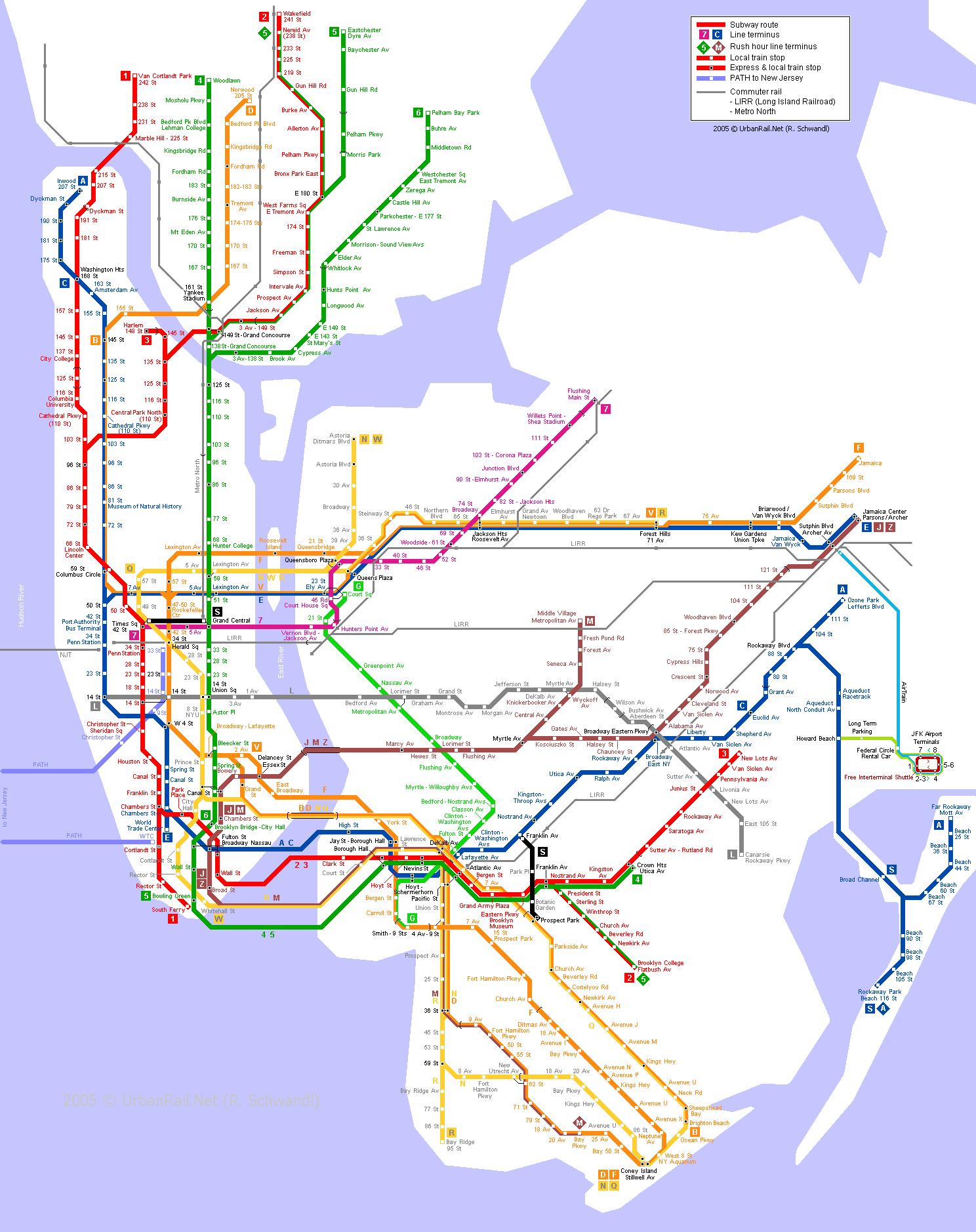 Схема метро нью-йорка 2016