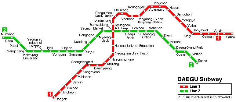 Схема метро в Тэгу