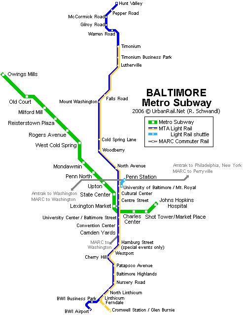 Схема метро Балтимора