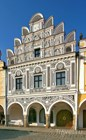 Telc - a house with renaissance sgraffito on main square - Czech REpublic