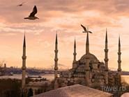 Султанахмет-Камиы (Голубая мечеть) в вечернем освещении