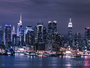 Ночная панорама Манхэттена, вид на Гудзон