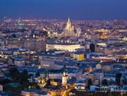 Вечерняя Москва с высоты птичьего полета