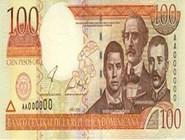 RD$100 аверс, 2000-2001