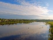 Вид на курорт Тотьма с берега реки Сухона