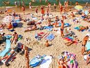 Светлогорский пляж в разгар летнего сезона