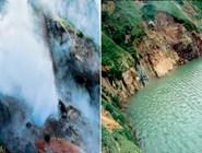 Извержение гейзера Большой. После схода селя его накрыло озером. 23 июня над гейзером было около двух метров воды. Но все же он жив. Фото автора