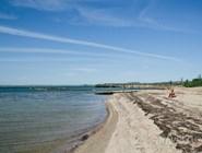 На берегу можно видеть те самые целебные водоросли Сенного