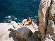 Каменистый пляж в Дубровнике, Хорватия