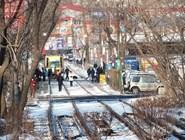 """Трамвай на остановке """"Спортивная"""""""