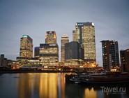 Canary Wharf в вечернем освещении