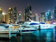 Небоскребы района Дубай-Марина ночью