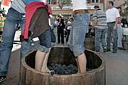 На фестивале можно подавить виноград ногами. // leukerbad.ch