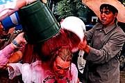 Во время праздника участники поливают друг друга вином. // noticiasderioja.com