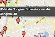 На карте обозначены места с точками доступа в интернет. // bruxelles.be