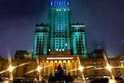 """Дворец культуры и науки """"перекрасится"""" в зеленый цвет. // rp.pl"""