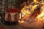 Огонь отрезал одну из дорог в заповедник. // wcnc.com