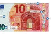 Wall Street Journal отметил места, куда помещена дополнительная защита 10-евровой банкноты.